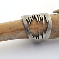 Sterling Silver Ring Size 85 Silver Ring Teeth Ring by ErinAustin