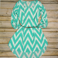 Chevron Striped High Low Belted Dress - Mint/White | .H.C.B.