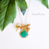 Personalized Jewelry Initial Necklace Emerald by SnobishDesign