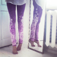 Dark purple leggings with light grey crystals