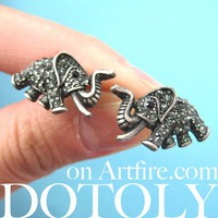 Detailed Elephant Animal Stud Earrings in Dark Silver with Rhinestones