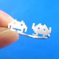 Atari Space Invaders Alien Pixel Adjustable Ring in Sterling Silver from Dotoly Plus
