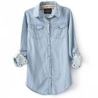 BlueBand — Floral Print Light Blue Denim Shirt