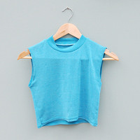 Vintage 90's Aqua Blue High Neck Crop Top