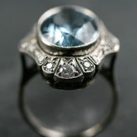 Aquamarine & Diamond Cocktail Ring by Ruby Gray's | Ruby Gray's