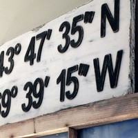 Latitude Longitude Sign  Custom Sign  by threelittlebirds333