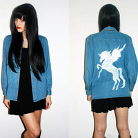 Pegasus Denim Shirt / Winged Horse Tee / One of a Kind Hand Painted / Long Sleeve Jean Shirt