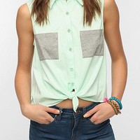 Sparkle &amp; Fade Colorblock Tie-Front Top