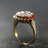 Antique Ruby &amp; Diamond Cluster Ring by Ruby Gray&#x27;s | Ruby Gray&#x27;s