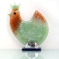 Fused Glass chicken Sculpture