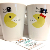 Latte mug couple set of 2 mugs- &quot;Mr. Pacman and Mrs. Pacman&quot; mug set perfect couple gift wedding gift, housewarming Gift yellow red black