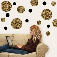 Amazon.com: Leopard Print Dots Large Repositionable Peel and Stick Wall Decals: Home & Kitchen