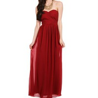 Asmara-Burgundy Prom Long Dress