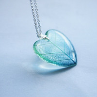 Leaf Necklace Green Blue Heart 01 Resin Jewelry Real Leaf Veins Transparent Pendant Love Romantic 925 Silver Plated
