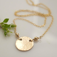 Gold Necklace Simple Gold Necklace Hammered by BellissimoJewelry