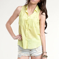 Kendall & Kylie Fringe Sleeveless Shirt at PacSun.com