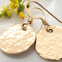 Gold Earrings Textured Gold Earrings by BellissimoJewelry