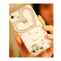 BLING Crystal Iphone case with Heart for Iphone 4 4S