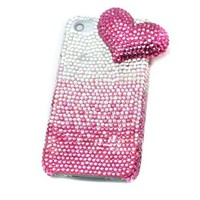 Pink BLING Luxury Crystal 3D Gradient Fade Heart Iphone 4/4S Case by Jersey Bling