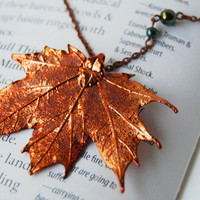 Large Fallen Copper Maple Leaf Necklace by EnchantedLeaves on Etsy