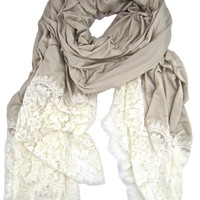 ashanddans - IVORY SCALLOPED LACE TRIM WRAP