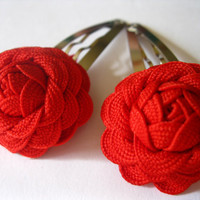 Flower Hair Accessories  Red Roses Art Deco Rick Rack by Rotifera