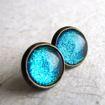 Blue Glitter Earrings  Turquoise Sparkle Post by AshleySpatula