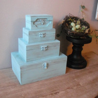 upcycled Jewelry Box ... Tiffany Blue Aqua Jewelry Box tower ... 4 tiers