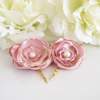 Pink Flowers - Pair Of Hair Clips -Set Of 2 Pink Hair Flowers -pink Rose Bloom