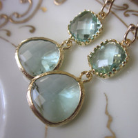 Prasiolite Earrings Light Green Earrings  Pacific Aqua by laalee