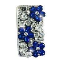 Handmade 3d Full Bling Daisy Blue Flowers Crystal Back Hard Case Cover for Iphone 4 4g 4s