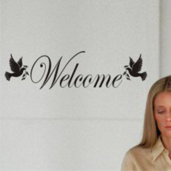 Dove Welcome Sign Wall Decal