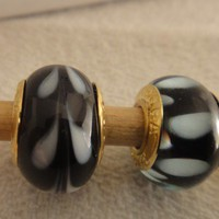 Black on White Murano Glass Pandora Stamped Beads