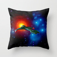 Klingon Vor&#x27;cha-class  attack cruiser Throw Pillow by JT Digital Art 