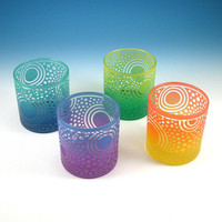 Etched Glass Tumblers with Bullseye Sun design  by woodeyeglass