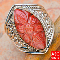 GOLDSTONE 925 STERLING SILVER RING SIZE 7 3/4 JEWELRY