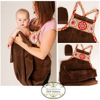 SEWING PATTERN -Baby Bath Apron Towel and Mitt PDF Sewing Pattern - By BlissfulPatterns - Free Shipping