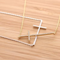 BIG SIDEWAYS CROSS necklace with crystals, 2 colors | girlsluv.it