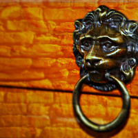 Brick Wall Pop Art with Antique Brass Lion Head Door Knocker - Fine Art Photo Limited Edition Poster Print 16x20 by Mei Faith