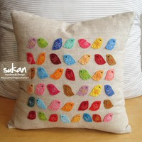 Birds Linen Pillow Cover by sukanart