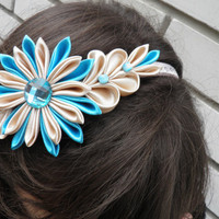 Kanzashi headband / Turquoise / beige/ spring fashion/ by Marywool