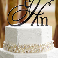 "5"" Single Custom Triple Monogram Wedding Cake Topper"