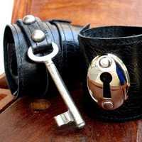 Black Leather Cuff Set with Vintage Key and by urbanheirlooms