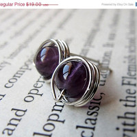 Amethyst Stud Earring - Sterling Silver Wire Wrapped Post Studs - Elegant Jewelry by Nadin Art Design