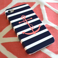 Monogrammed Anchor & Stripes iPhone Cover by ShorelyChic on Etsy