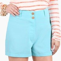 Simple Sailor Turquoise High Waisted Shorts @ FrockCandy.com