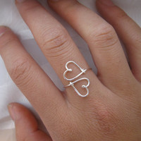 Silver Heart to Heart Ring by DesignedByLei on Etsy