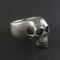 Skull Ring - Oxidized Sterling Silver Human Skull Ring - The Lost Apostle Skull Ring