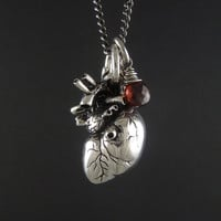 Anatomical Heart Necklace with Sterling Silver Wire Wrapped Garnet - Antique Silver Anatomical Heart Pendant on 24&quot; Gunmetal Chain
