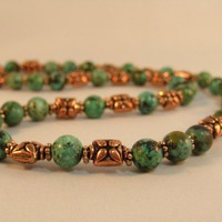 Turquoise and Bali Style Oxidized Copper Bead Necklace 18""